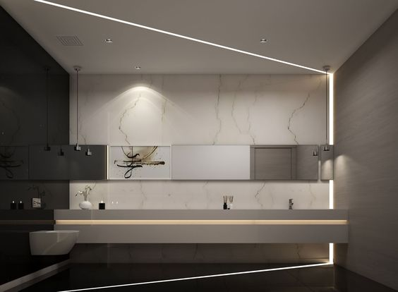100 marble bathroom designs ideas the architects diary for Office building bathroom design