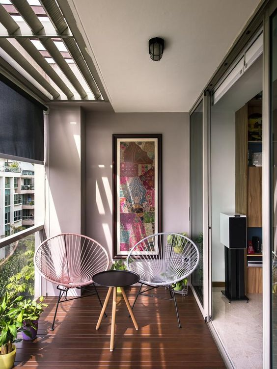 51 small balcony decor ideas the architects diary for Balcony wall decoration