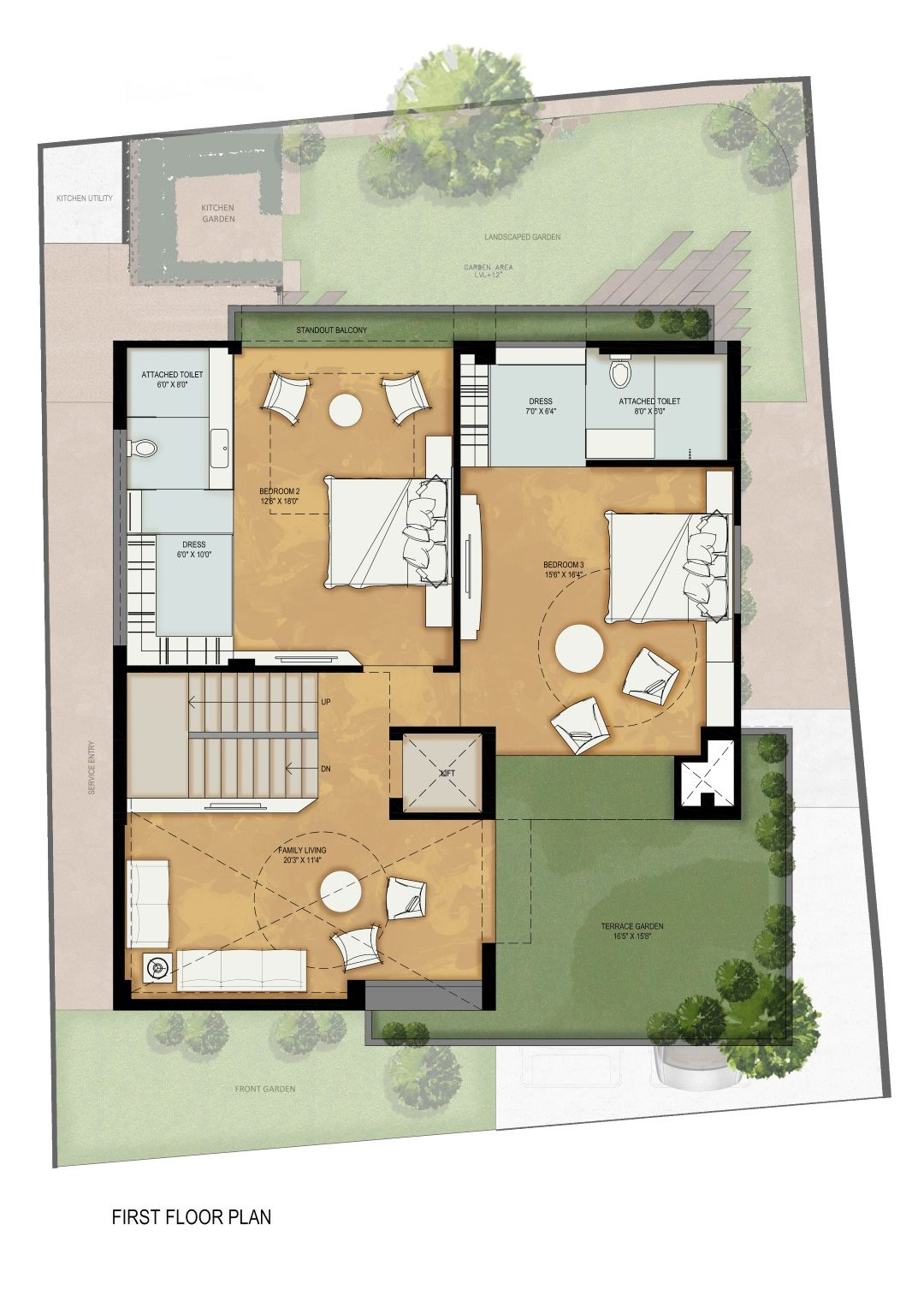 An exposed brick front elevation gives the villa an for Tynan house plans