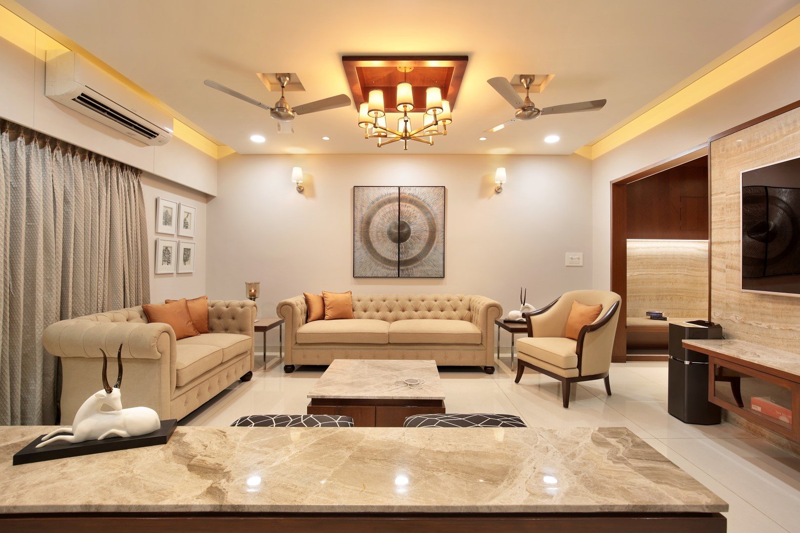 3 bhk flat interiors the oak woods vadodara studio7 for Flat interior images