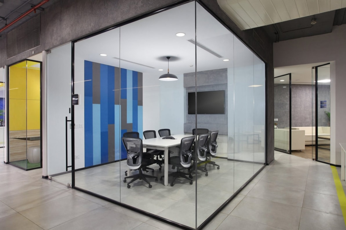 The office design has industrial raw exposed feel for Industrial office design