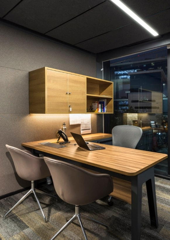 Home office design concept was inspired by the mid century for Office cabin design