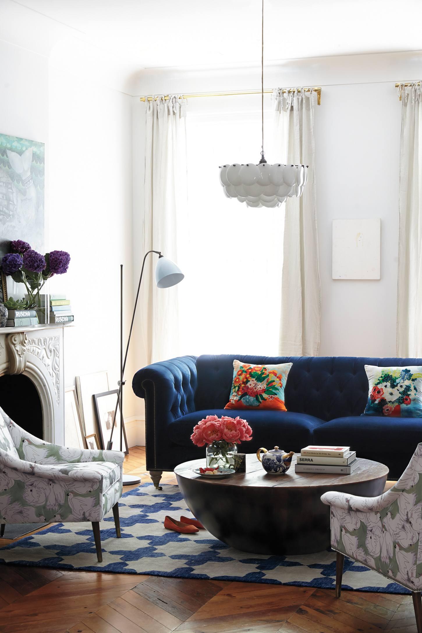 Blue velvet sofa 8