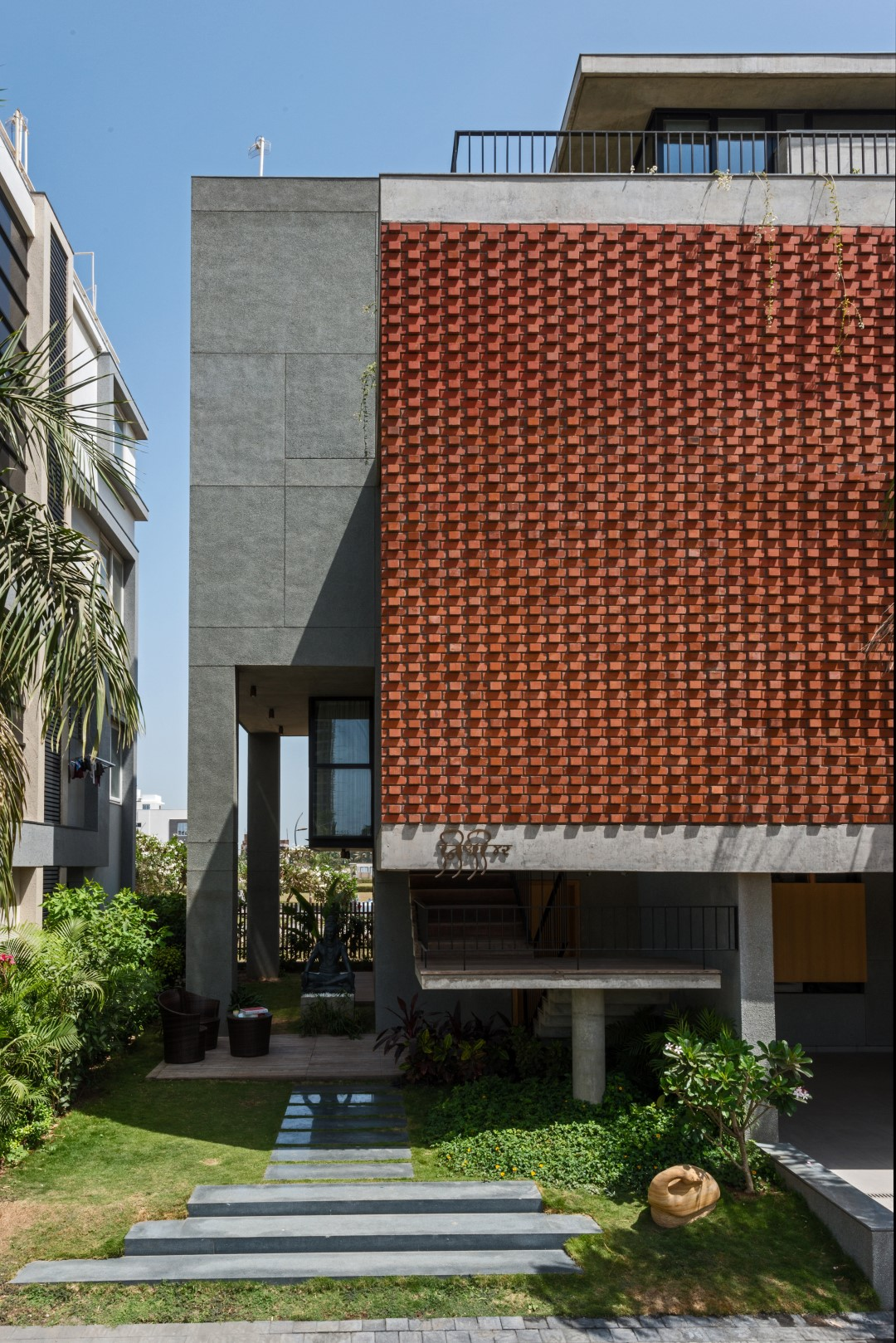 Brick-Facade-House-design-work-group-surat-16 House With Brick Design on house with wood, house with concrete, house with swings, house with pavers,