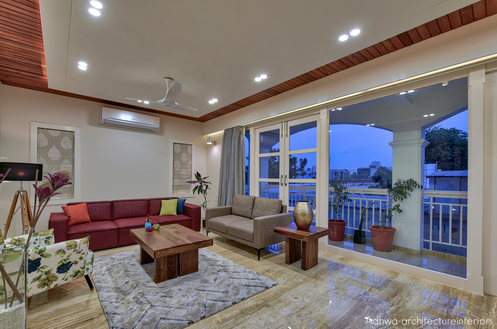 On the first floor the stucco texture on the wall and ceiling and the exposed finish ceiling with track lights in the other room the traditional color like