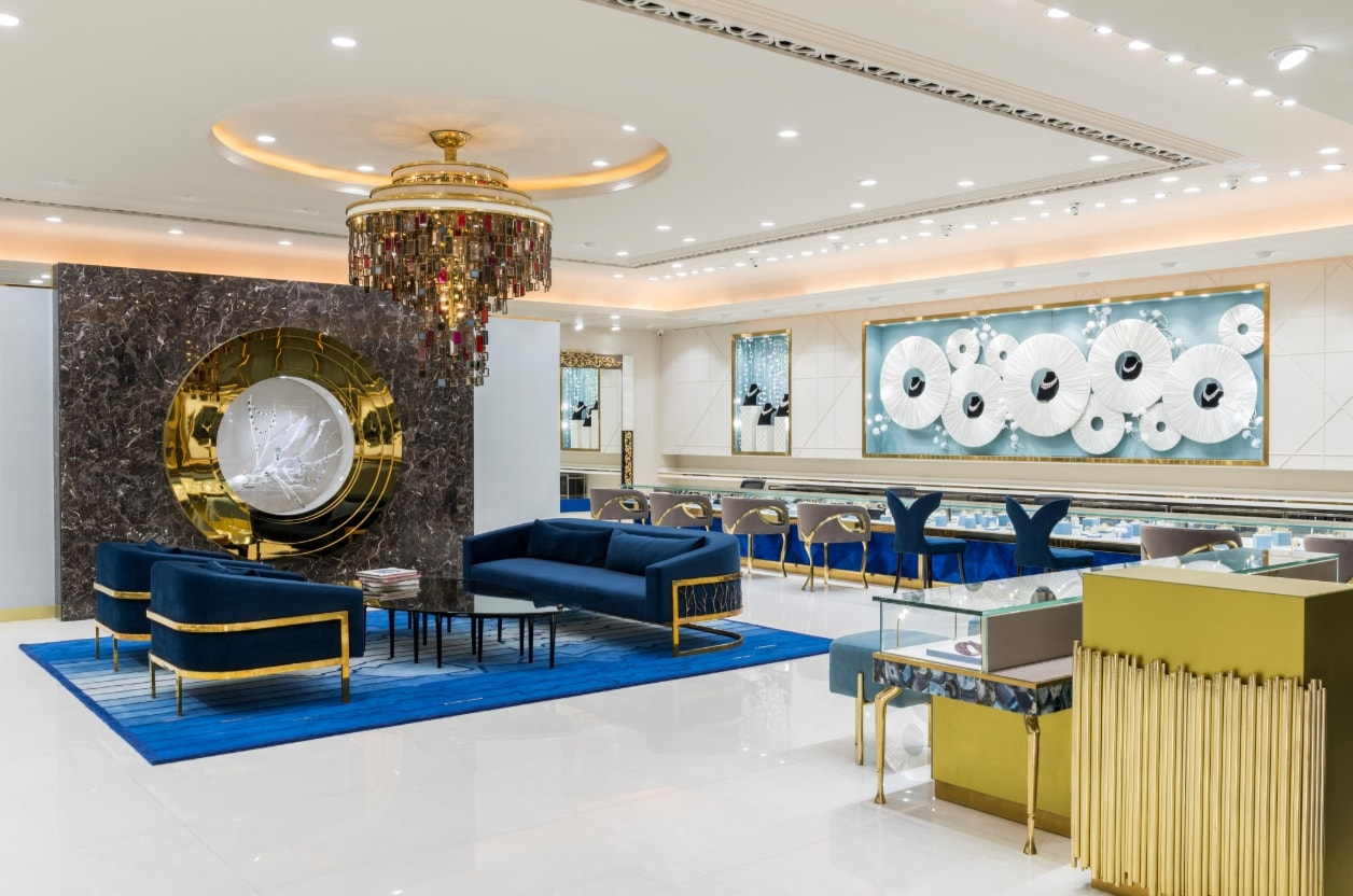 jewellery shop interior design ideas s shop interior design The Daily Wear Gold Section follows a simpler colour scheme of white and  gold with the reception feature wall inspired by pearls.