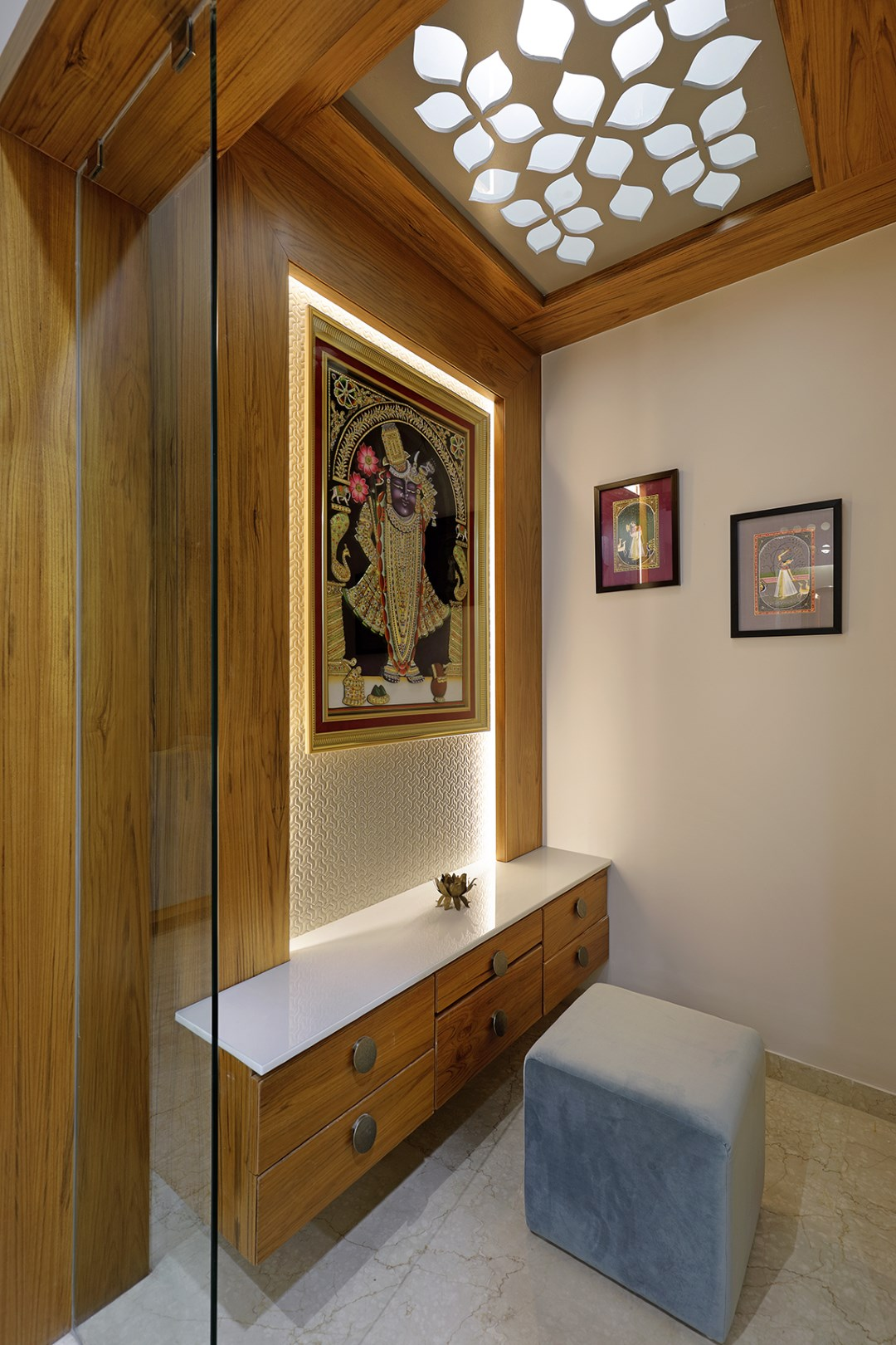 Puja Room Design: Floral Pattern Inspires Apartment Interiors